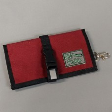 Wallet in Wine with Navy, Dark Green, and silver gray interior