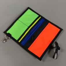Wallet in Super Blue with Neon Orange, Neon Yellow, Neon Green, and Royal Blue interior