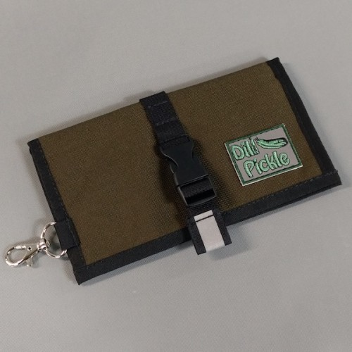 Wallet in Dark Olive with Wine and Silver Gray interior with a splash of Navy