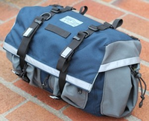 Large Saddlebag, Standard Model, Gray on Blue