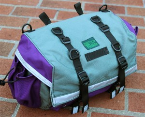 Large Saddlebag in Gray and Eggplant