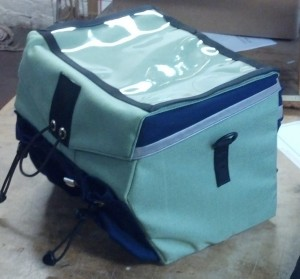 Boxy Rando Bag in Celery and Navy