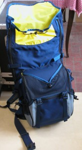 Gig Bag in Gray and Navy with Yellow Lining