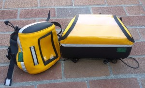 Small Saddlebag and Handlebar Bag in Black and Yellow