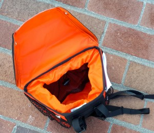 Handlebar Bag in Black and Orange with Orange lining.