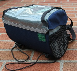 "Handlebar Bag in ""Classic Pickle"" Navy and Gray"