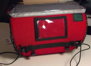 Handlebar Bag in Red and Gray with Name Tag Window