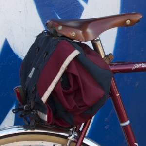 Large Saddlebag in Navy and Wine
