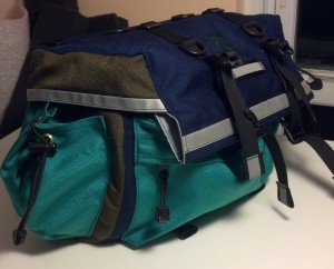 Large Saddlebag in Navy and Olive with Emerald Pockets