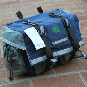 Large Saddlebag in Navy and Gray.